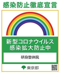 東京都感染拡大防止チェックシートのステッカー|阿佐ヶ谷 整体 研身整体院